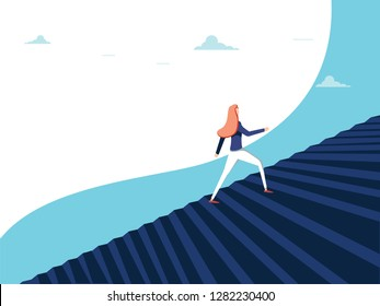 Buisnesswoman climbing career steps concept. Symbol of ambition, motivation, success in career promotion illustration. Business opportunity concept for feminism. Woman in business