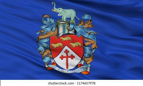 Bulawayo City Flag, Country Zimbabwe, Closeup View, 3D Rendering