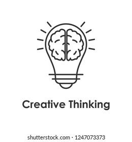 bulb, brain, creative icon