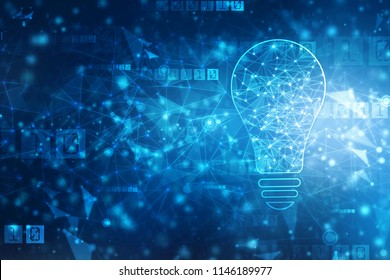 Bulb future technology, innovation background, creative idea concept, Abstract technology background