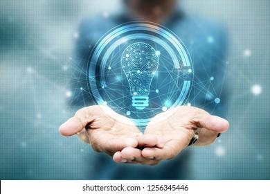 Glühbirne, Zukunftstechnologie, Innovationshintergrund, kreatives Konzept