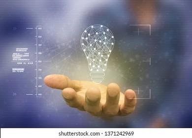 bulb future technology, innovation background, creative idea concept