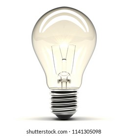 Bulb light close-up shinning on white background. 3d illustration