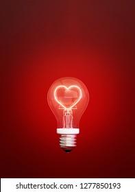 bulb of love for valentine's day,3d rendering,3d illustration