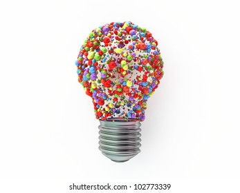 bulb shape  made from colored spheres on white background