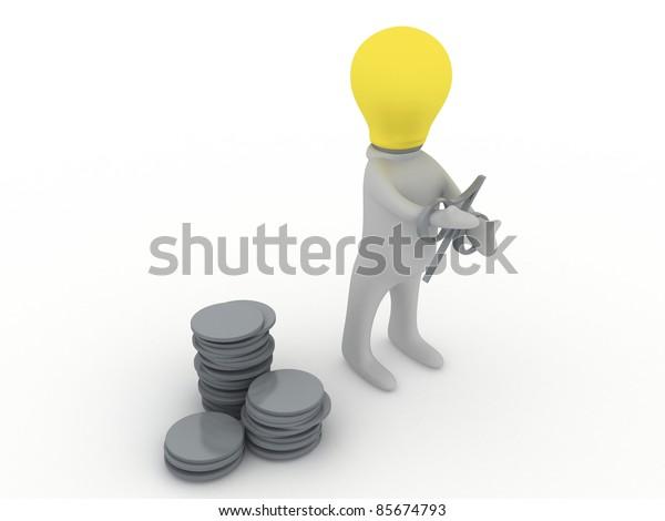 Bulbman in debts - People Symbol Series
