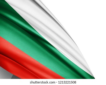 Bulgaria  flag of silk with copyspace for your text or images and white background-3D illustration