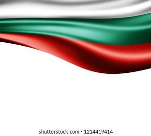 Bulgaria flag of silk and white background-3D illustration