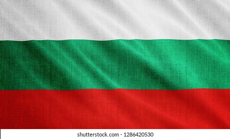 Bulgaria flag is waving 3D illustration. Symbol of Bulgarian national on fabric cloth 3D rendering in full perspective.