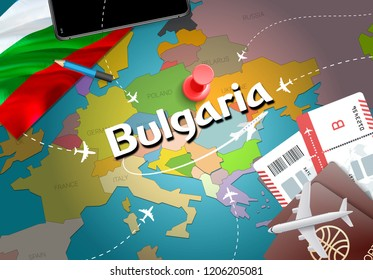 Bulgaria travel concept map background with planes, tickets. Visit Bulgaria travel and tourism destination concept. Bulgaria flag on map. Planes and flights to Bulgarian holidays to Varna, Sofia