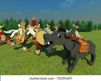 """Bulgarian traditional folk dance and music 3D illustration. Close up, musicians, donkey """"singer"""", green nature and sky background. Collection."""