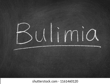 Bulimia concept word on a blackboard background
