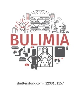 Bulimia. Symptoms, Treatment. Line icons set. Illustration