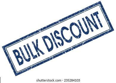 bulk discount blue square stamp isolated on white background