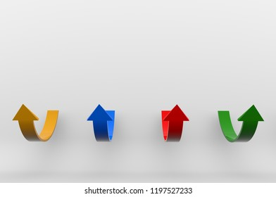 Bulk pointers raised up. Colored 3d arrows pointing up on a white isolated background with large shadows. 3D rendering