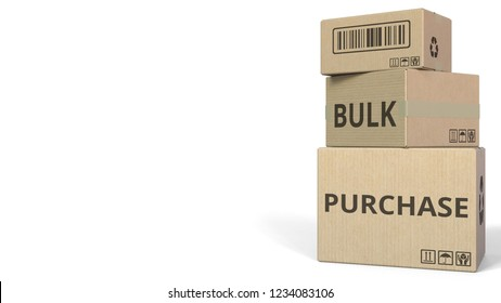 BULK PURCHASE caption on boxes. 3D rendering