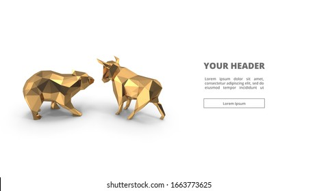 Bull and Bear Low Poly. 3d illustration. gold. digital polygon. web design. main page. visual. key visual. animals and wild. trading. forex. cryptocurrency. golden. statue and figure. isolated. white
