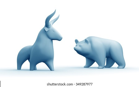 "Bull And Bear Market. Clay statuettes of a bull and a bear as metaphoric stock market ""players"". 3D rendered graphics on white background. Blue toned version."