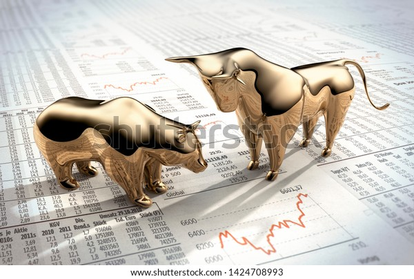 Bulle and Bär auf einer Finanzzeitung - 3D-Illustration