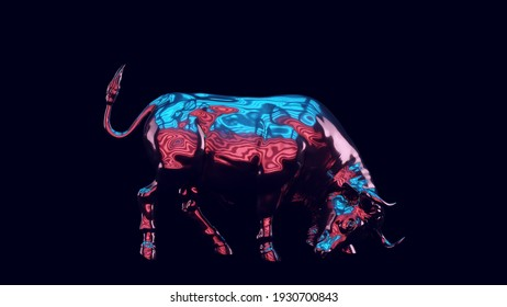 Bull with Blue Red Pink Moody 80s lighting 3d illustration render