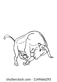 bull characters cartoon illustration darwing