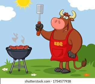 Bull Chef Cartoon Mascot Character Holding Slotted Spatula By A Barbecue. Raster Illustration With Background