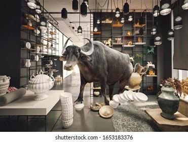 Bulle in einem chinesischen Laden. Mischkonzept für Foto und Medien