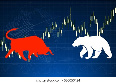 Bull graphic and Bear graphic on stock market candle graph background.