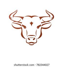Bull head ancient emblem animal element. Heraldic design element. Retro style label, heraldry logo.