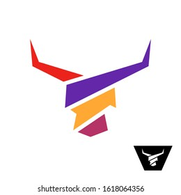 Bull head colorful logo. Bull with long horns color wide stripes stylized symbol. Animal head minimalistic sign. Cow geometric icon.