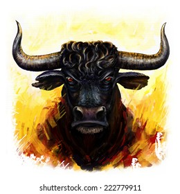 bull head digital painting/furious bull
