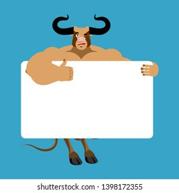 bull holding banner blank. Minotaur and white blank. buffalo joyful emotion. Big monster with horns and place for text.