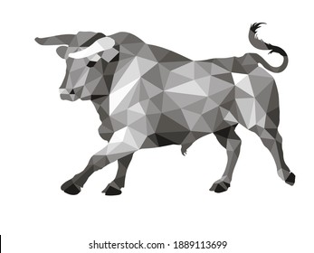 bull, isolated image on a white background in a low-poly style