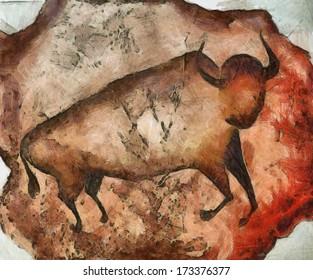 bull like primeval cave paintings