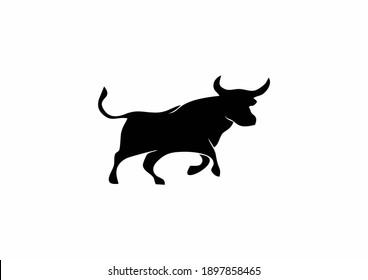bull logo design on white background
