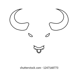 Bull logo silhouette of head big horns