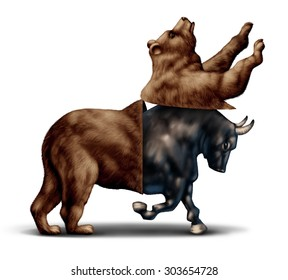 Bull market economic recovery financial business concept as a bear opening up with an emerging bullish stock market  as a metaphor for change in investing sentiment and positive investor sentiment.