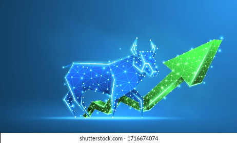 Bull market trend, green growth arrow. Stock Exchange and concept of a trading chart. Low poly, wireframe 3d Raster illustration. Abstract polygonal image on blue neon background