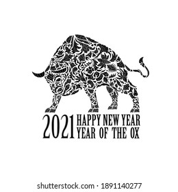 bull with an ornament. Symbol of the year 2021. Black and white