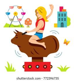 Bull Ride. Rodeo simulator. Cartoon Illustration.