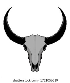 a bull skull logo that can be interpreted as strength