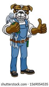 A bulldog cartoon animal mascot carpenter or handyman builder construction maintenance contractor holding a hammer and giving a thumbs up
