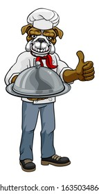 A bulldog chef mascot cartoon character holding a silver platter cloche dome of food and giving a thumbs up