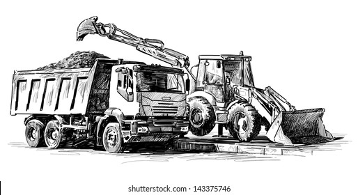 bulldozer and dump truck
