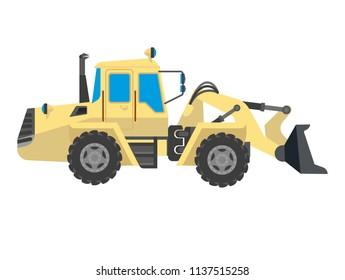 Bulldozer modern model isolated on white background.  crawler