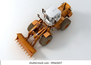 Bulldozer on wheels on light background. Top view