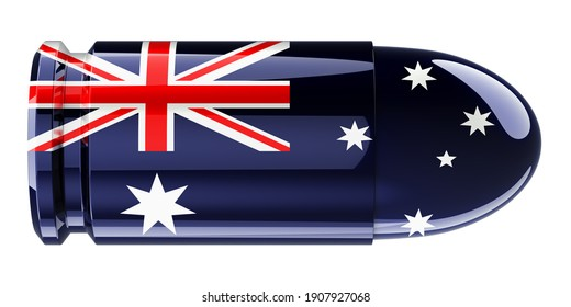 Bullet with Australian flag, 3D rendering isolated on white background