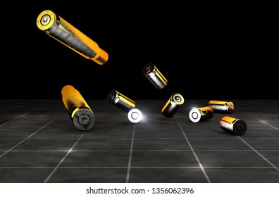 Bullet and cartridge case of a firearm, 45-50mm. Gun ammunition on a black background. 3d rendering. Campaign against firearms