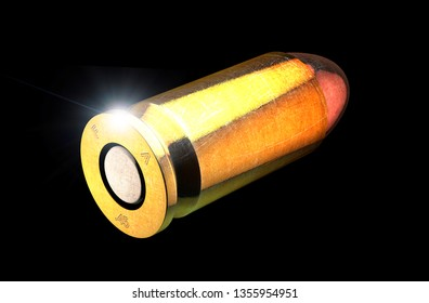 Bullet and cartridge case of a firearm, 45mm. Gun ammunition on a black background. 3d rendering. Campaign against firearms