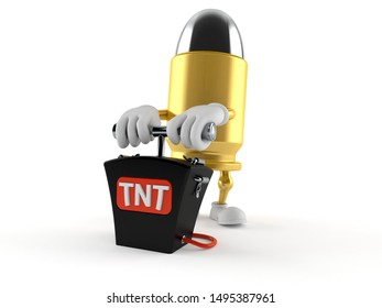 Bullet character with bomb detonator isolated on white background. 3d illustration